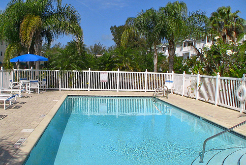 Private tropical pool at Captain's Cove in Indian Shores FL